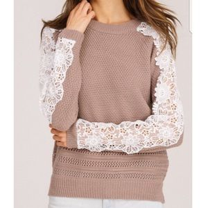 Lace-Sleeve Sweater